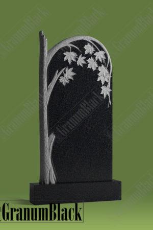 Памятник из гранита к-1 с кленом на могилу